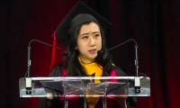 Yang Shuping was speaking at her graduation from Maryland University. She moved to the US from China five years ago. Photograph: YouTube